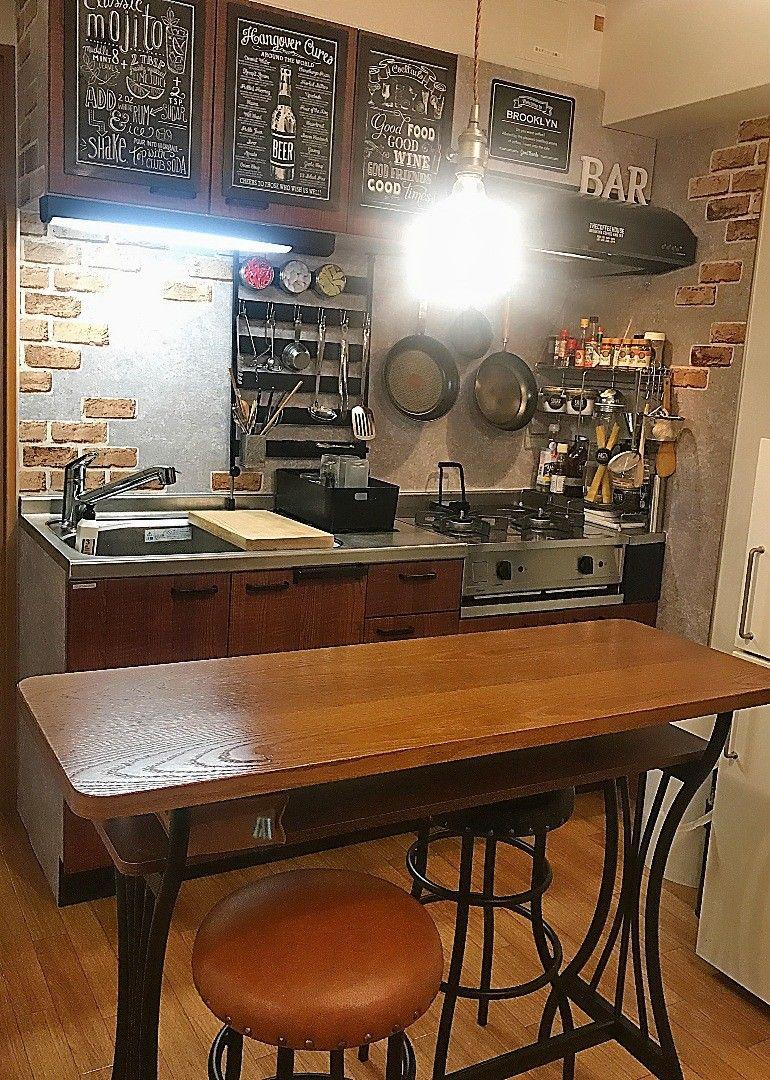 100均のアイテムなどを使いブルックリン風のキッチンリメイクにチャレンジしてみました キッチン Diy 装飾のアイデア インテリア スタイル