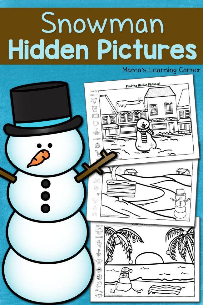 Snowman Hidden Pictures Printables Hidden Pictures Snowman And