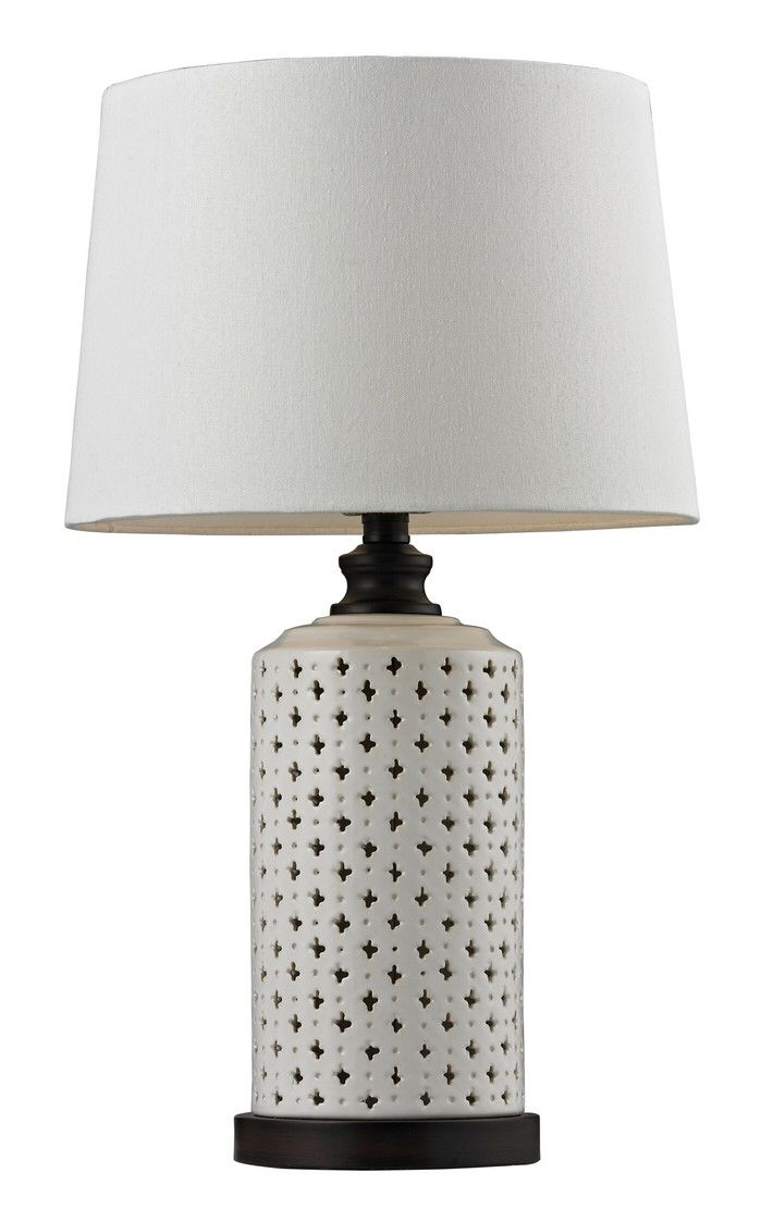 Elk Lighting Open Work Ceramic 23 H Table Lamp With Empire Shade Lamp Table Lamp Contemporary Table Lamps