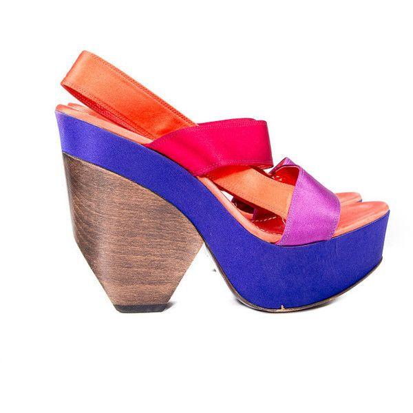 Purple/orange Platform Sandals Size:38 1/2 ($315) ❤ liked on Polyvore featuring shoes, sandals, wood heel sandals, orange high heel shoes, high heel platform shoes, orange platform sandals and purple sandals