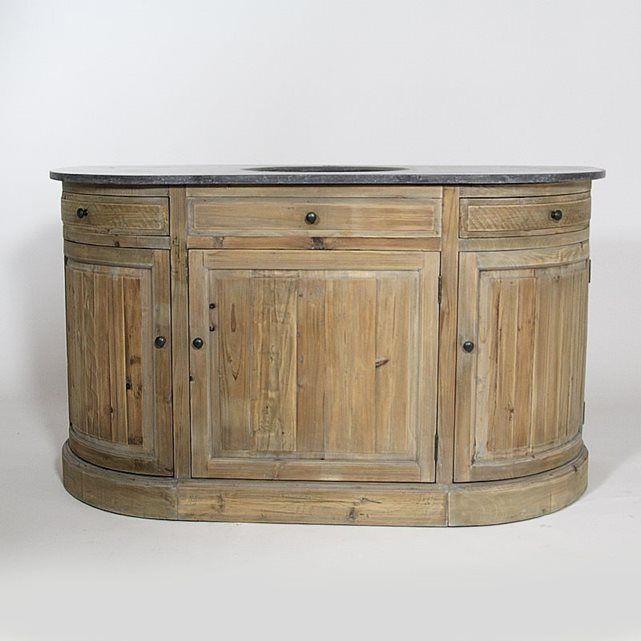 meuble de salle de bain pin recycl plateau pierre authentiq kh02na en 2018 cuisine. Black Bedroom Furniture Sets. Home Design Ideas