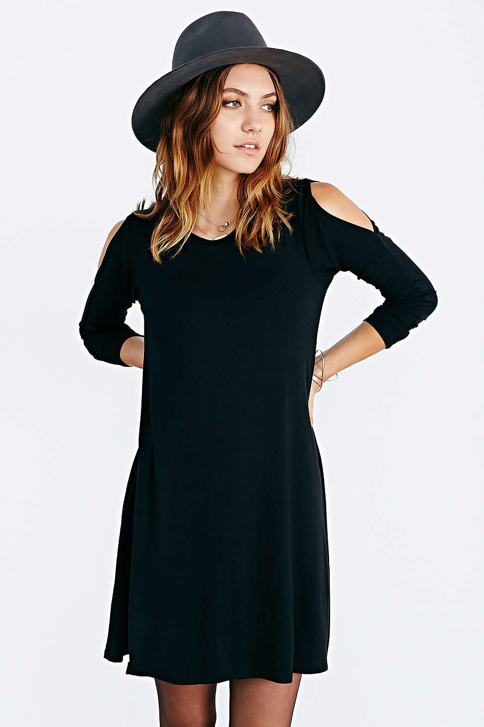 Black off the shoulder long sleeve casual dress my style