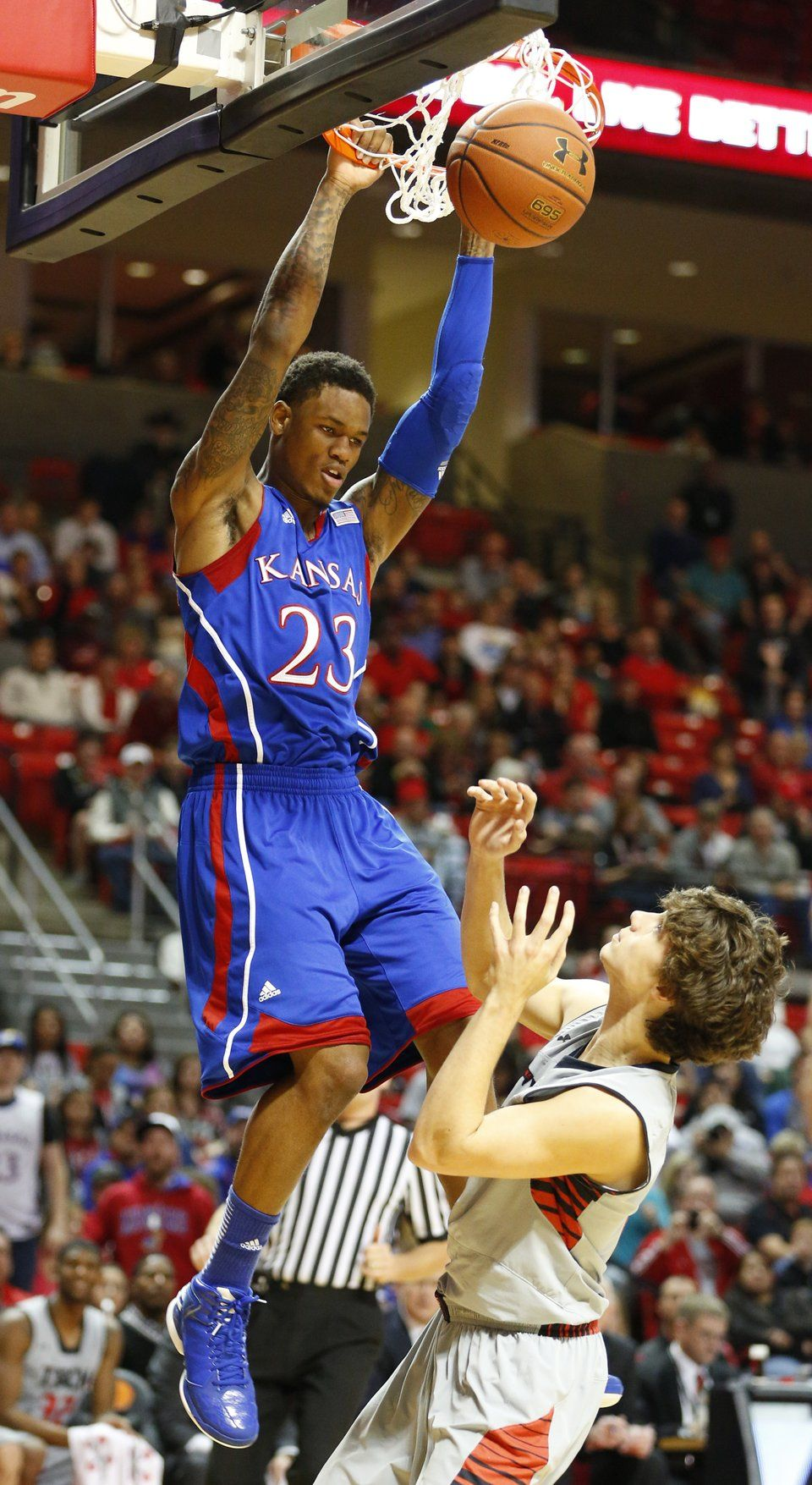 Kansas guard Ben McLemore finishes a putback dunk over