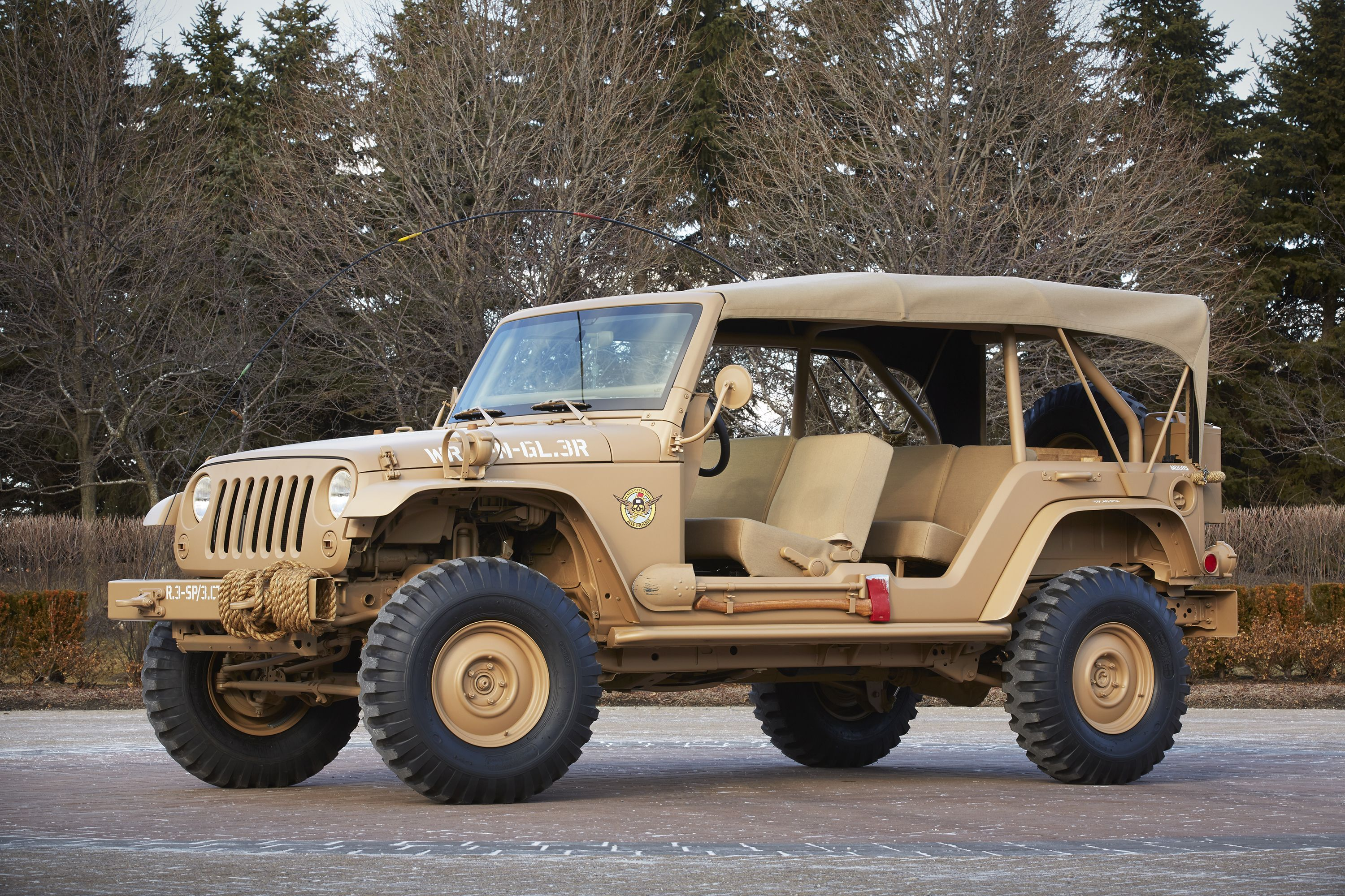 Jeep s staff car concept carries the 2015 easter jeep safari theme of open air