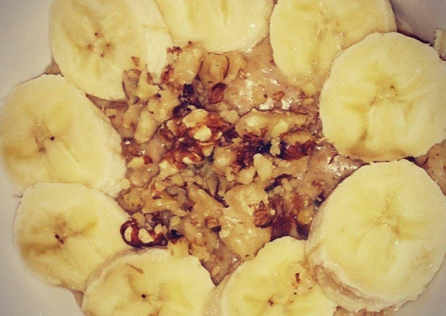 شوفان بالحليب والتمر بالصور من أم وسام Recipe Food Oatmeal Breakfast