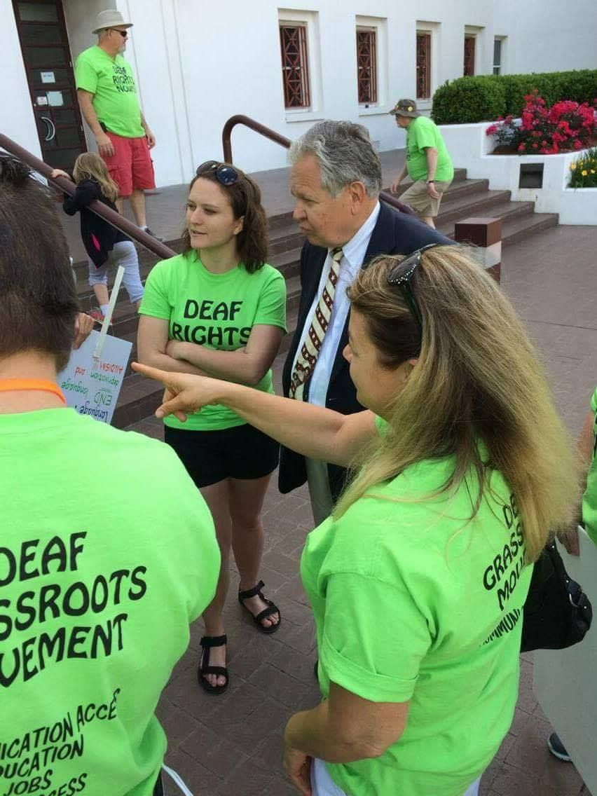 Deaf grassroots movement at the state capitol today deaf