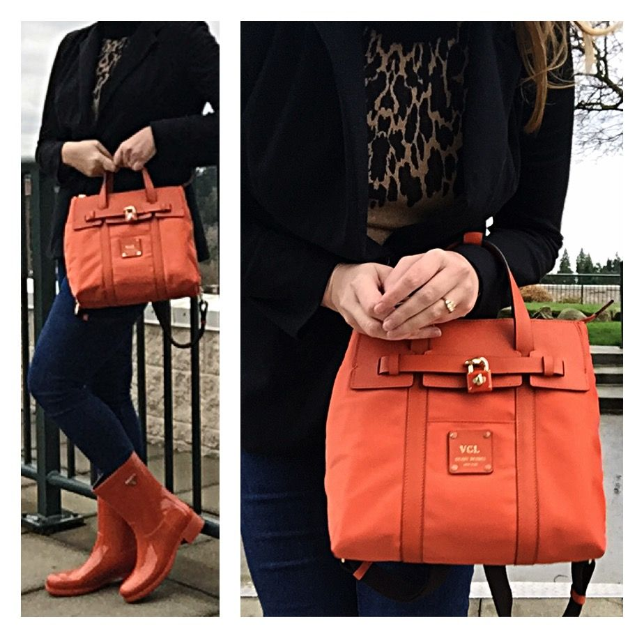a4dd5d30b60a Henri Bendel dark orange monogrammed jetsetter mini backpack
