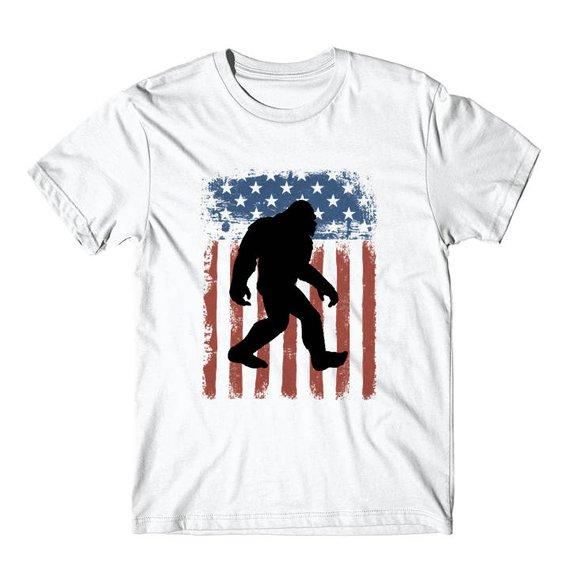 1d3850bb Bigfoot Shirt - American Flag Bigfoot Silhouette Sasquatch T-Shirt by  Really Awesome Shirts