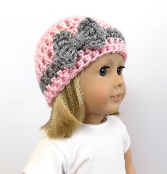 18 inch doll hat, doll clothing, Doll Hat with Bow, Pink Doll Hat, Doll Accessories, Girls Gift Idea, Toys, Pink and Gray Doll Beanie #dollhats