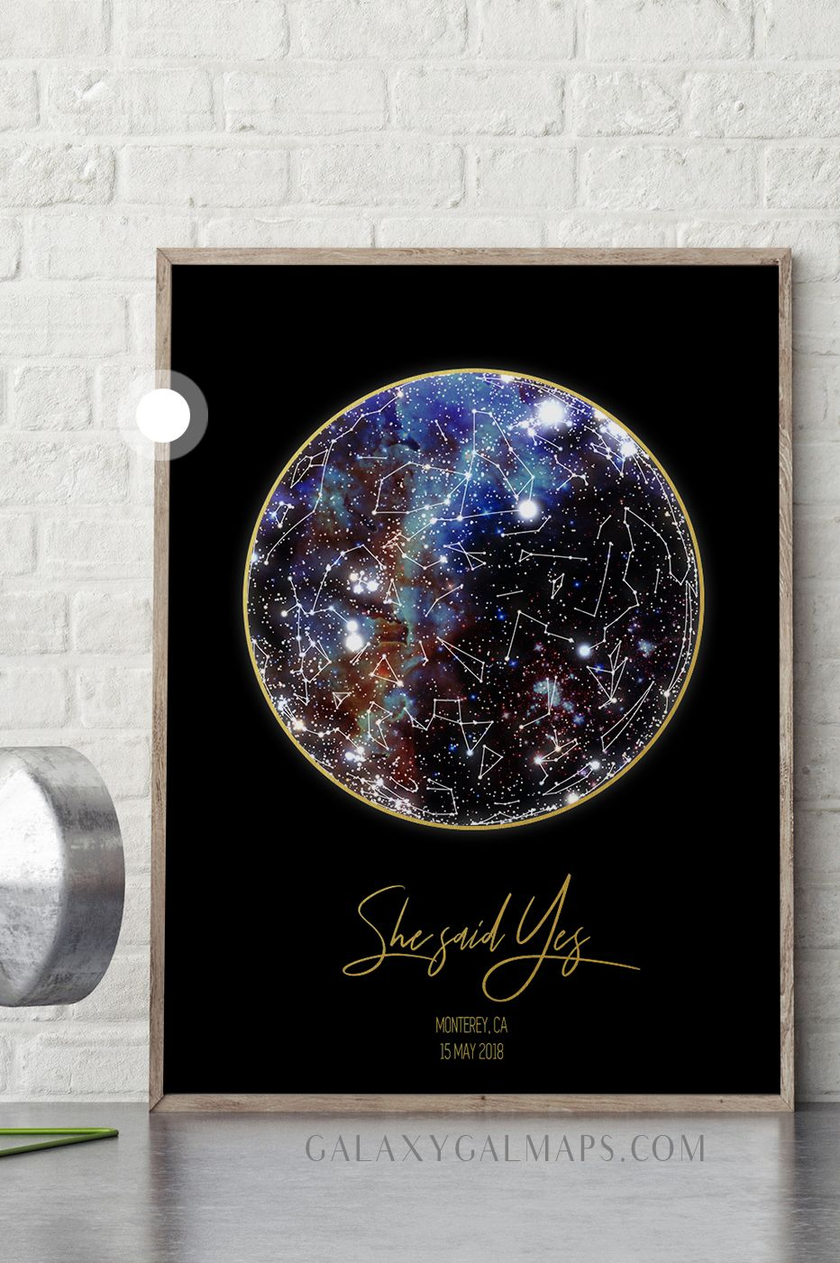 Custom Star Map 8x10 Inch Maple Wood Print Of Our 2 To Us Map