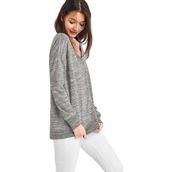 Gap Women French Terry V Neck Tunic Sweater ($45) ❤ liked on ...