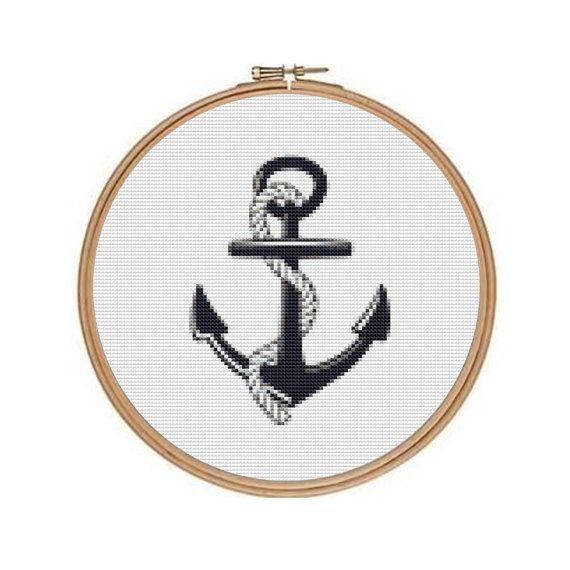 Anchor Cross Stitch Pattern, for Hoop or Frame, Nautical Instant ...