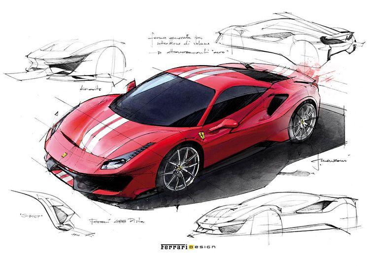 Ferrari 488 Pista Official Sketches Cardesign Car Design