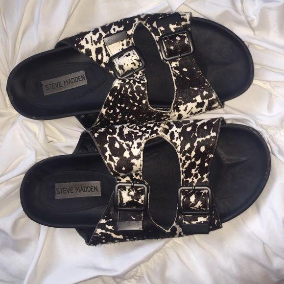 1c2d7ff16e4 Steve Madden Calf Hair Birkenstock-like sandal Super chic black   white  sandal. Steve Maddens twist on Birkenstocks Steve Madden Shoes
