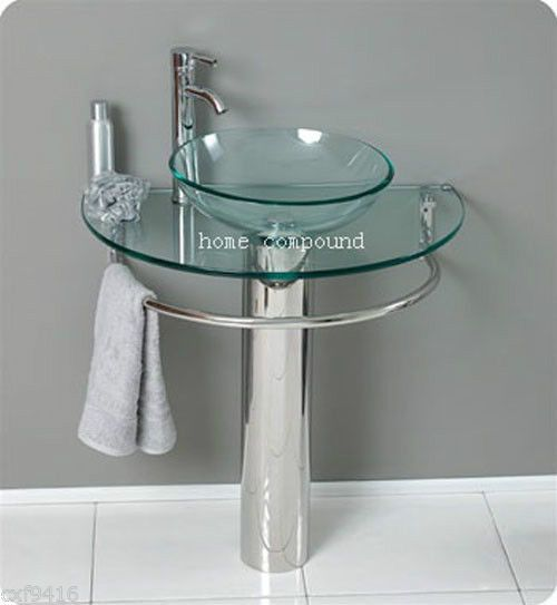 Modern Bathroom Vanities Pedestal Vessel Glass Furniture Sink W