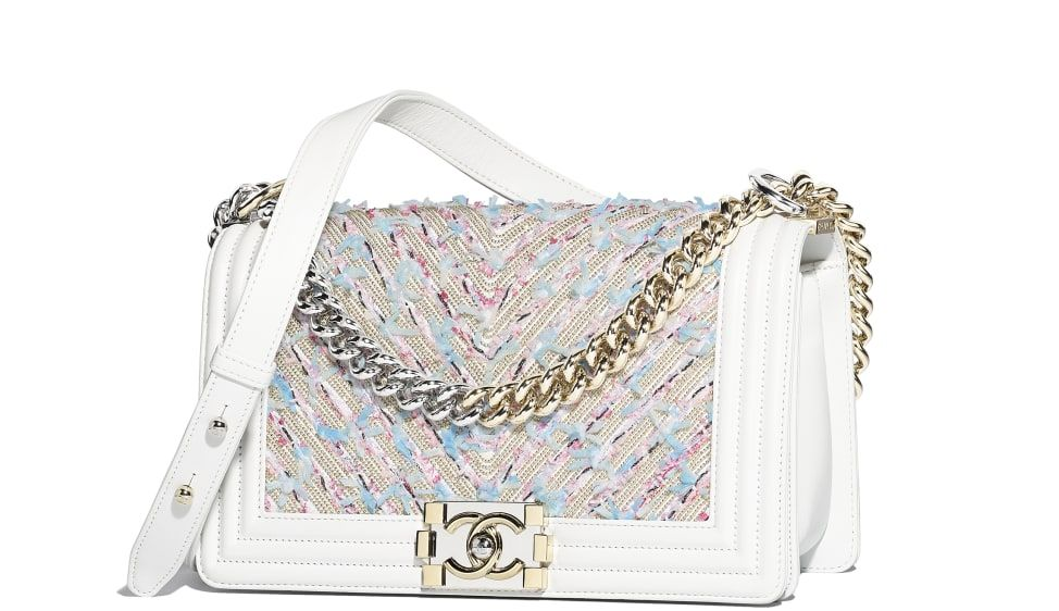 0858967d $6400 BOY CHANEL Handbag, calfskin, chains, tweed, gold-tone ...