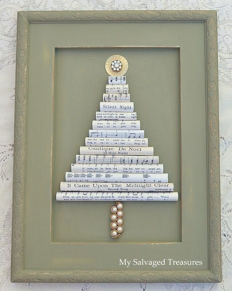 Vintage Sheet Music Christmas Tree Tree wall art, Vintage sheet