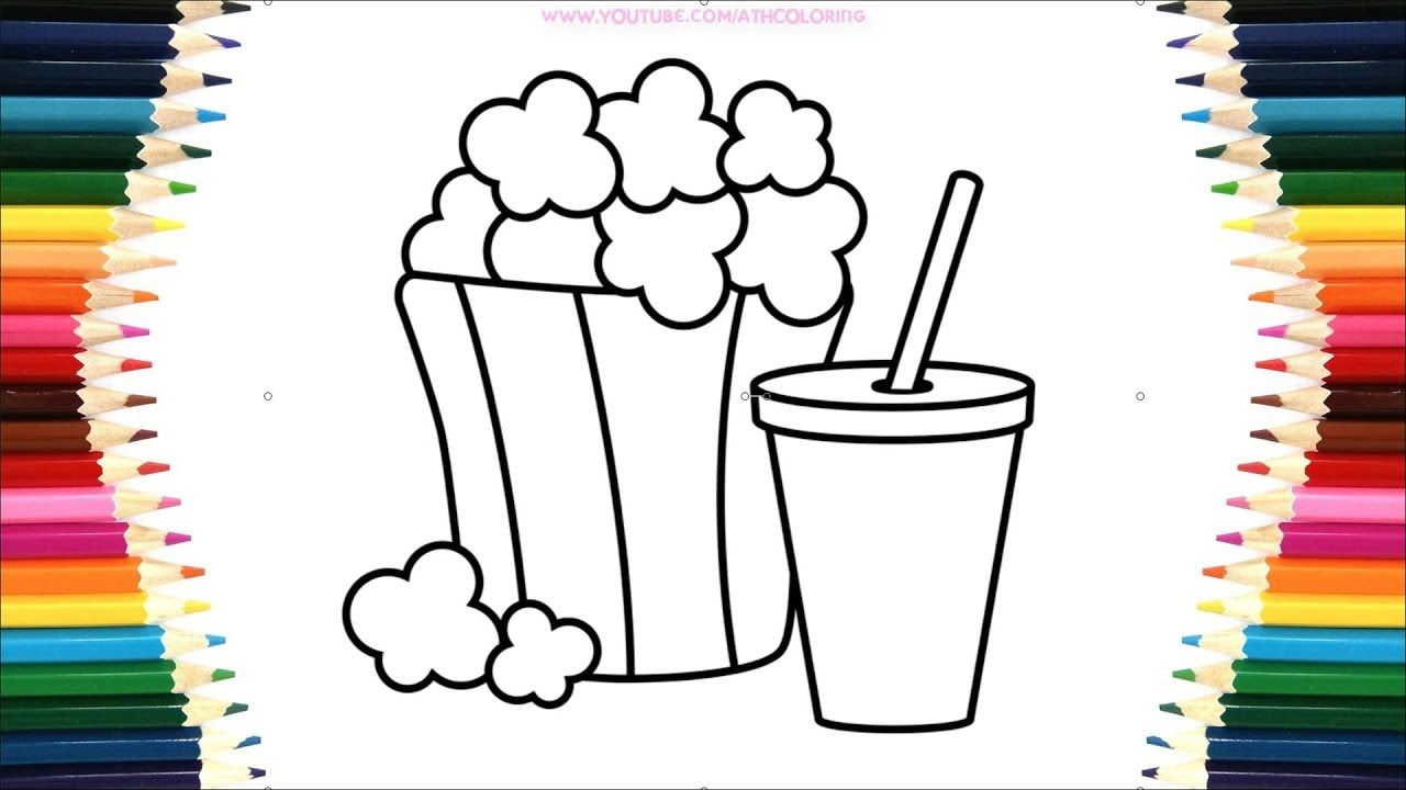 Coloring popcorn fast food hamburger coloring page fruit