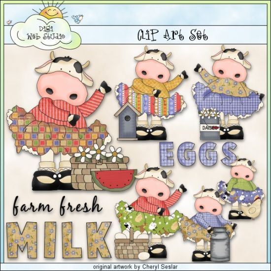 Frilly Farm Cows 1 - Exclusive Clip Art by Cheryl Seslar