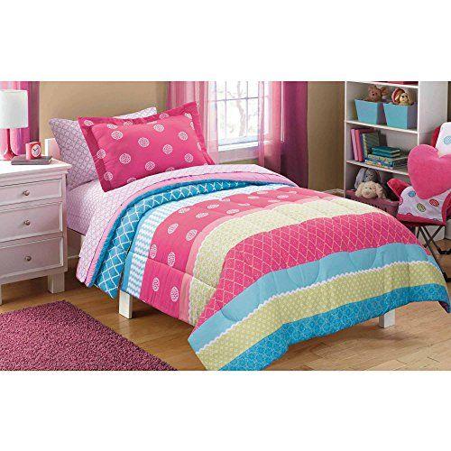 Mainstays Kids Mix It Up Bed In A Bag Bedding Set Twin S Https Www Amazon Com Dp B01cz2imj6 Ref Girl Comforters Girls Comforter Sets Kids Bed Headboards