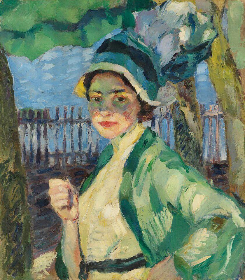 Le Grüner Schirm porträt einer dame unter grünem schirm frieda blell 1911 léo