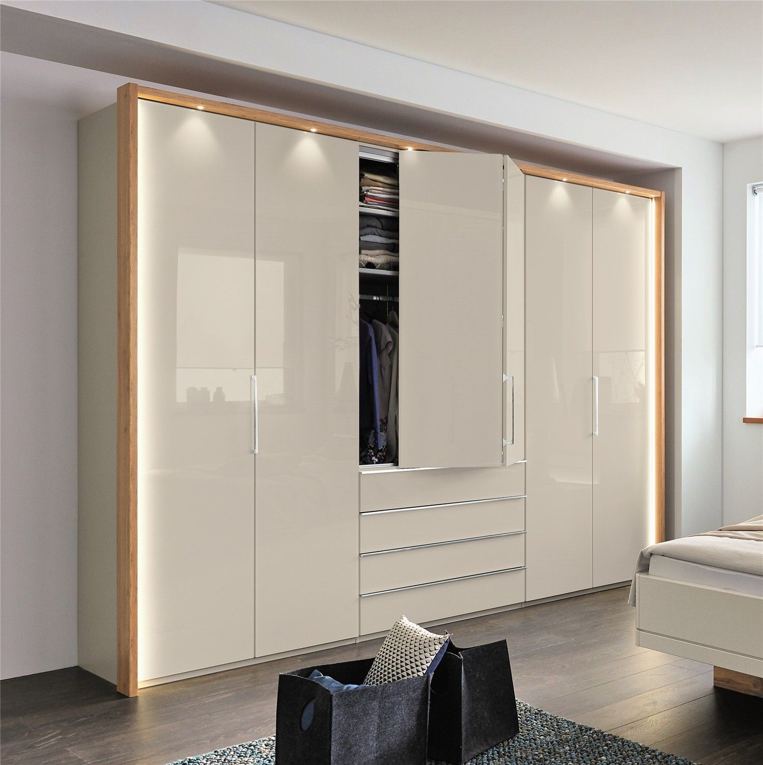 Stylform Cassiopea Bi Fold Wardrobe With Drawers In Glass Mirrors