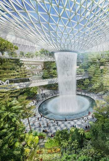 A Garden Airport In Singapore Indoor Waterfall Changi