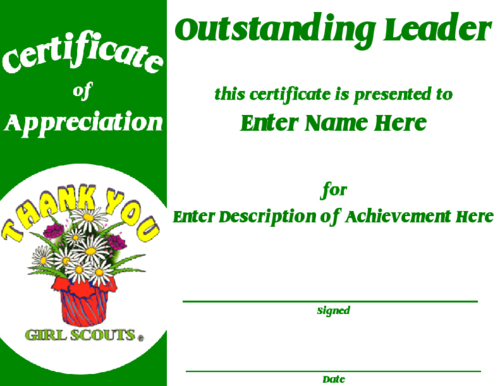 Award Certificate Templates Girl Scouts Parents Appreciation Girl Scout Leader