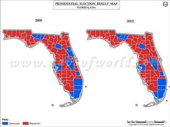Florida Election Results Map 2008 Vs 2012 USA Presidents