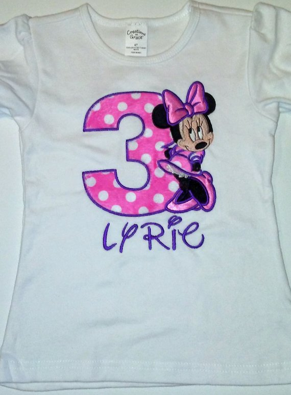 bc578788c3ea0 Pink and Purple Minnie Mouse 3rd Birthday Outfit 3rd Birthday Shirt ...