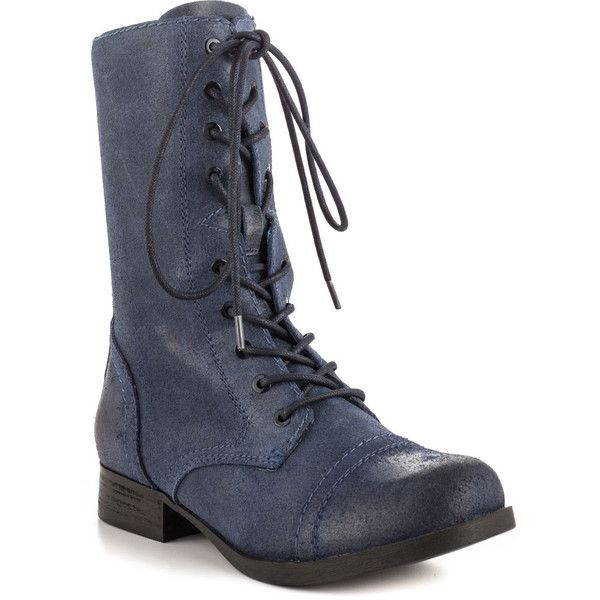 Aldo Women's Brooklyn - Navy ($95) ❤ liked on Polyvore featuring shoes, boots, ankle booties, shoes - combat boots, ankle boots, navy blue ankle boots, combat boots, low heel ankle boots, suede ankle booties and suede booties