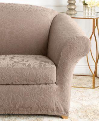 Stretch Sofa Jacquard Damask 2-Piece Sofa Slipcover in 2019 ...