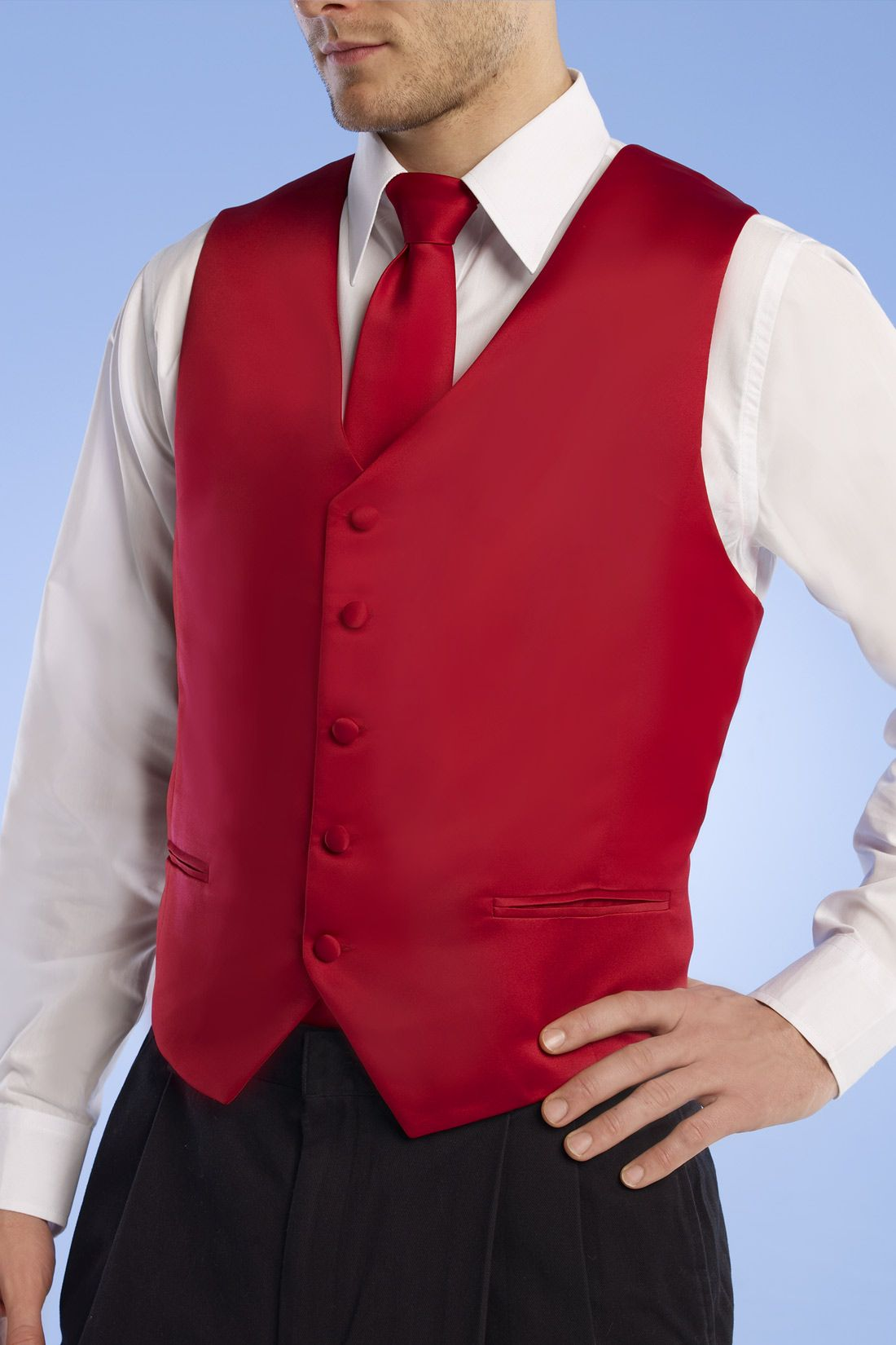 red vest and tie for groom and best man red and white