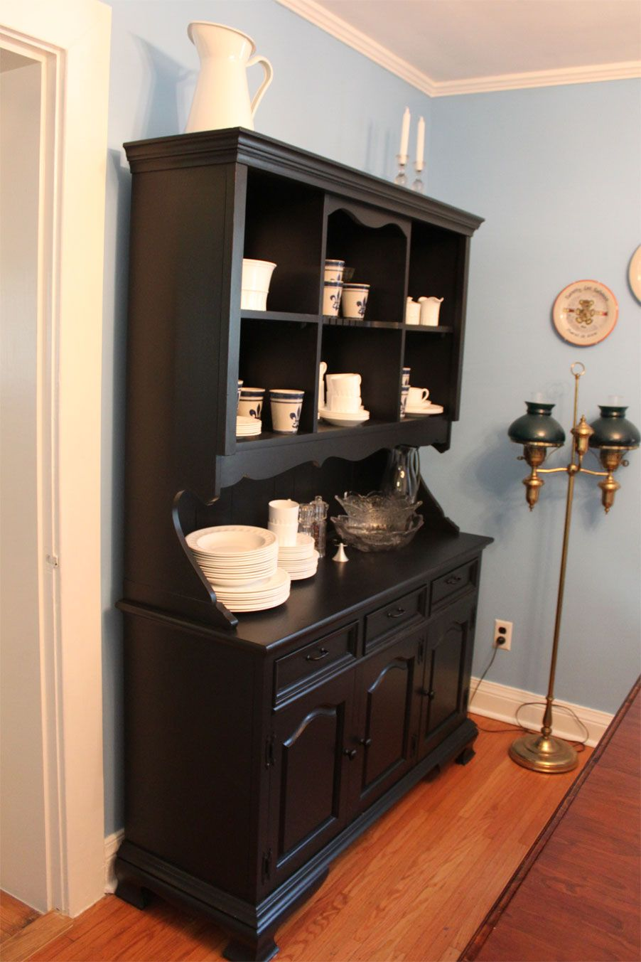 Black Painted Hutch I Would Add A Pop Of Color Inside Background