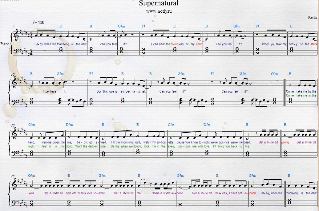 Kesha Supernatural Piano Sheets With Lyrics And Chords From