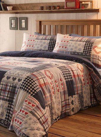 Winter Patchwork Brushed Cotton Bedding Set - bedding sets ...