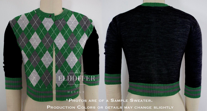 PREORDER Green/Silver Argyle Cardigan