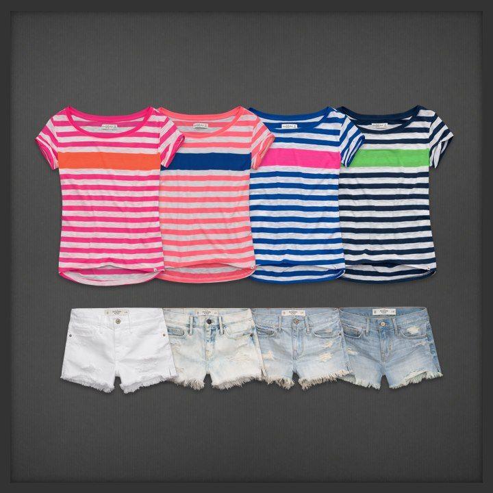 striped shirts and denim shorts. So Cute!