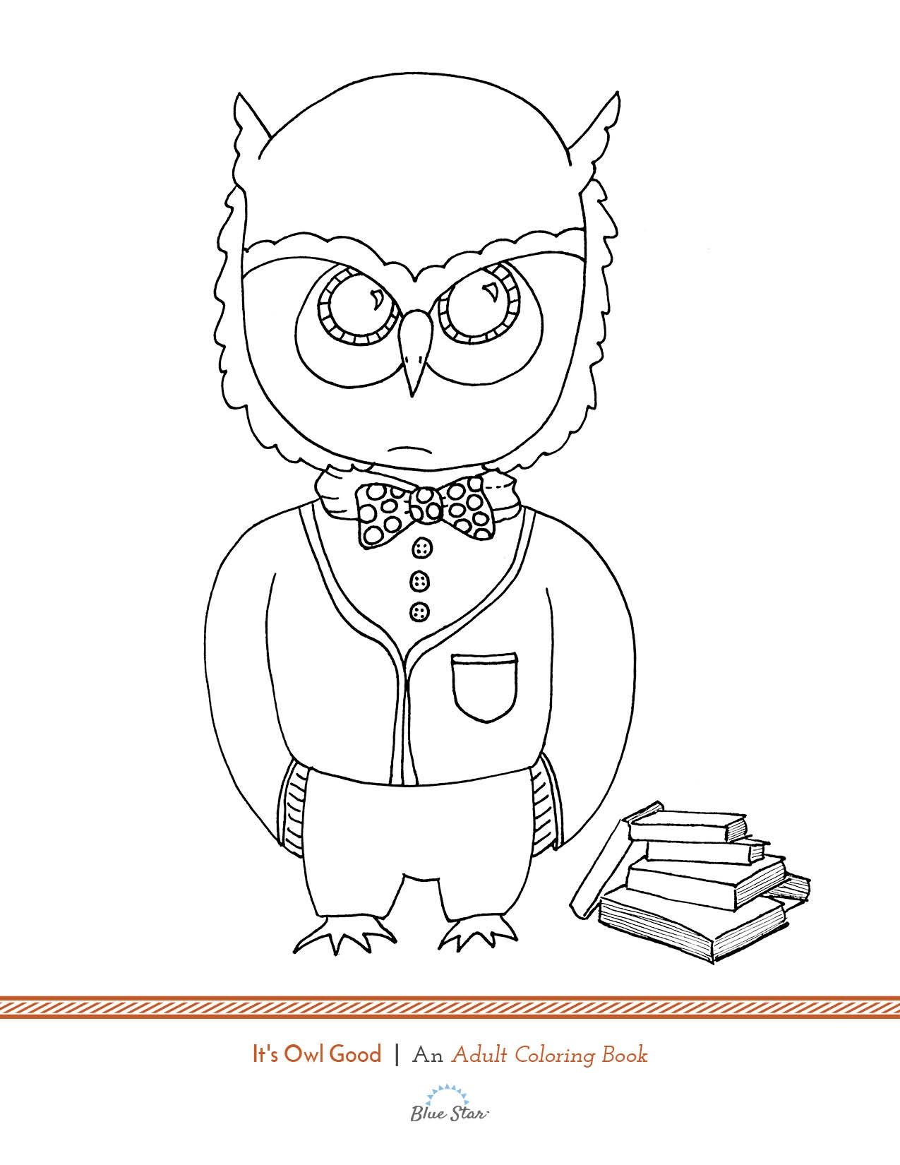 Another free adult coloring book page Its a hoot Simply print