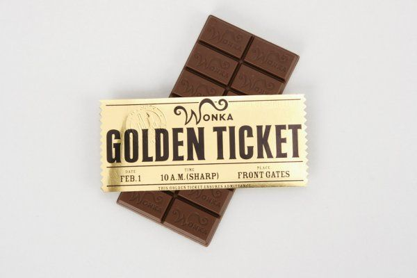 1108 Golden Ticket And Unwrapped Wonka Chocolate Bar On
