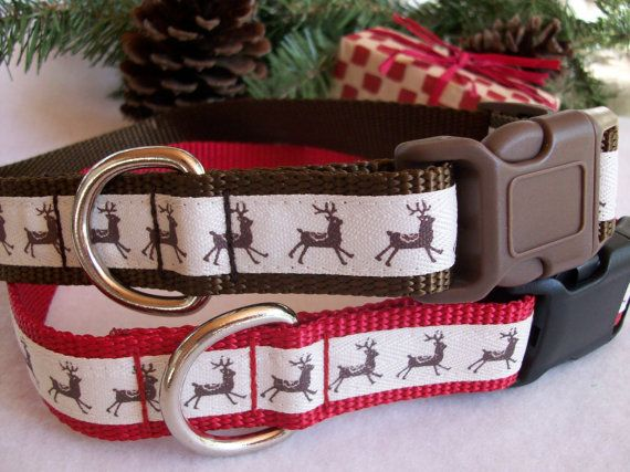 Reindeer Dog Collar Side Release Buckle Style In M L by dogdazzle, $17.00