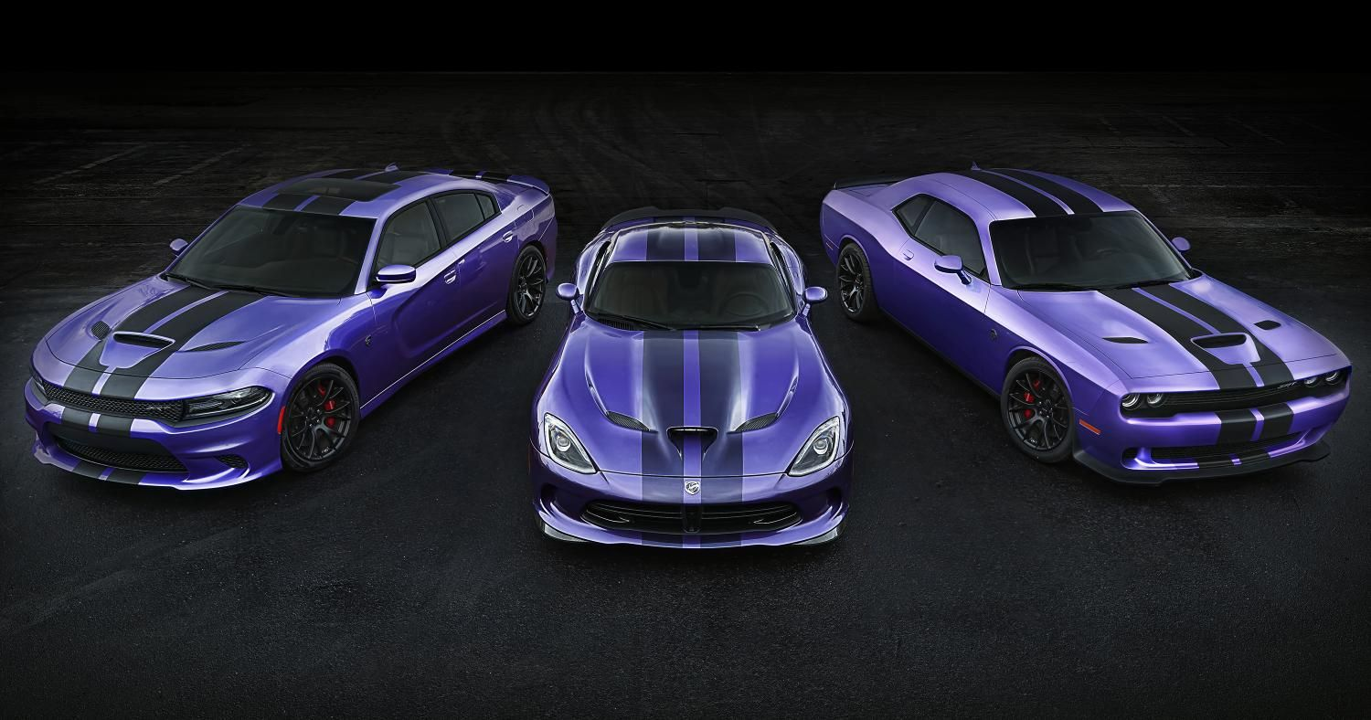 2016 dodge challenger and charger srt hellcats received exclusive stripes plum crazy paint availability extended