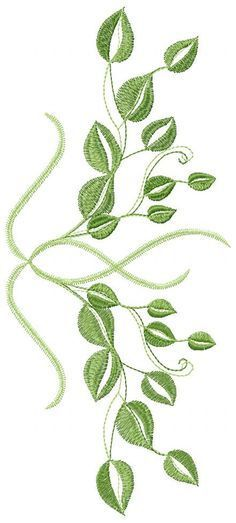 Green Leaves Free Embroidery 2 Flowers Free Machine Embroidery
