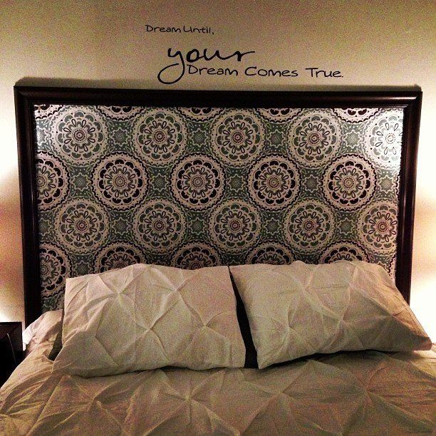 DIY Headboard Shower Curtain Stapled To The Wall Framed In Moulding From Home Depot So Cheap And Easy