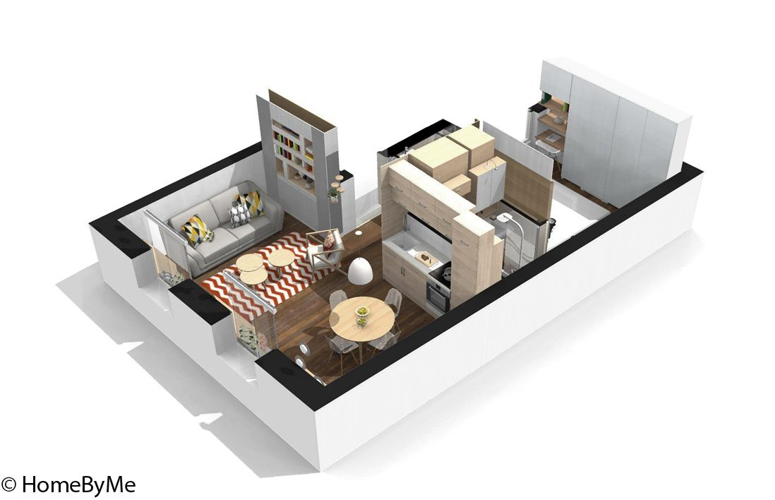 Visite en 3d d 39 un appartement malin de 40 m elle d coration plans logiciel decoration - Maison de 40m2 ...