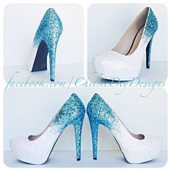 Glitter High Heels Blue and White Pumps Aqua by ChelsieDeyDesigns ...