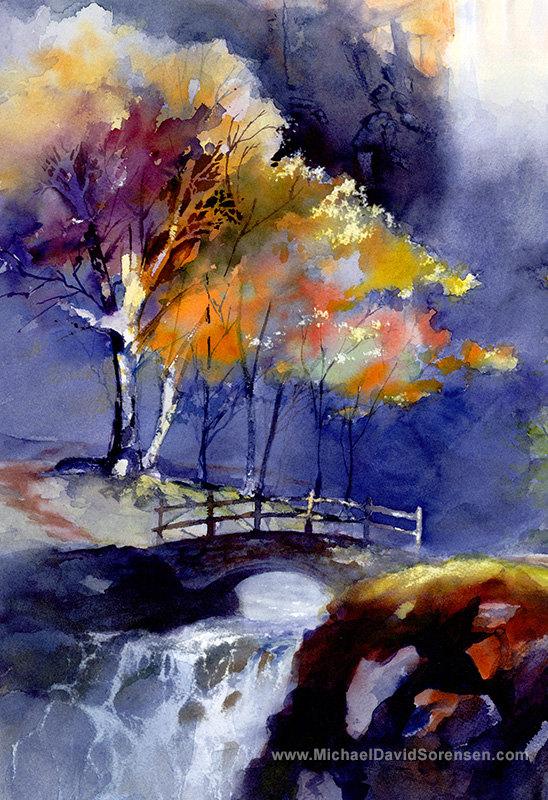 Colorido Cascada Arte Impresion Pintura De Paisaje De Acuarela Sierra Nevada Arboles Sendero De Senderismo Con Puente Arte Abstracto Pintura Arte De Acuarela Paisajes Acuarela