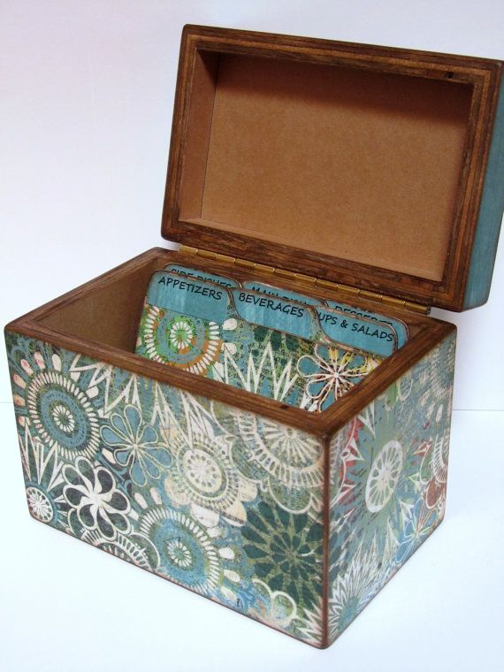 Recipe Box  Teal Turquoise Flowers  4x6 inch by KelleysPaperCrafts, $35.00
