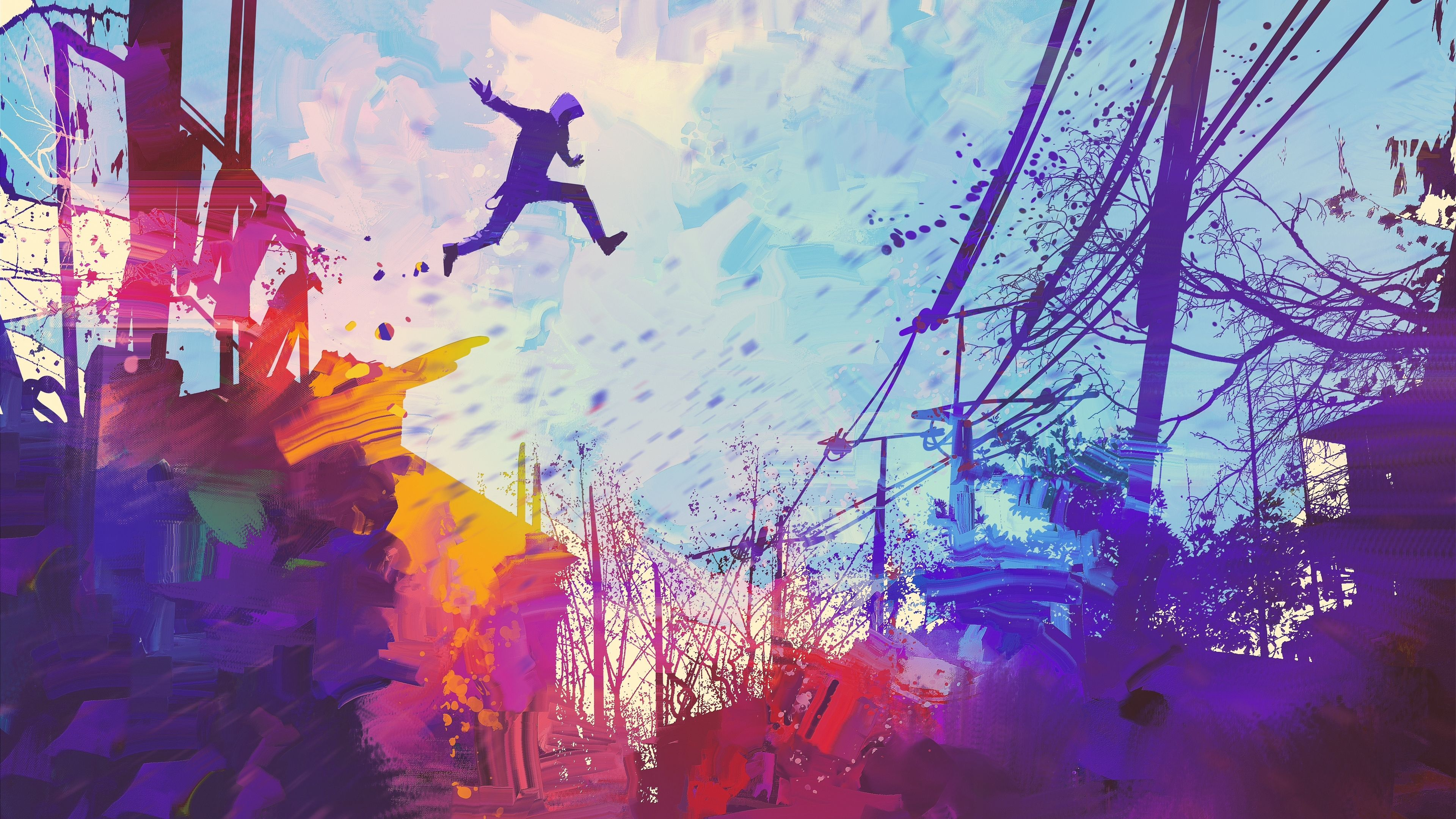 Wallpaper 4k Man Jumping Roof Abstract Illustration Painting 4k 4k
