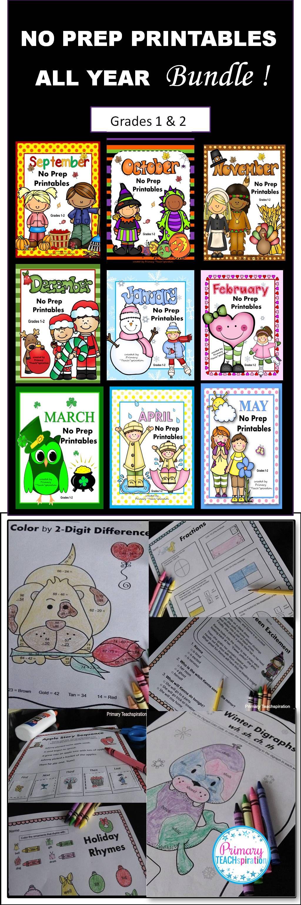 Math Amp Literacy 1st Amp 2nd Grade All Year Bundle